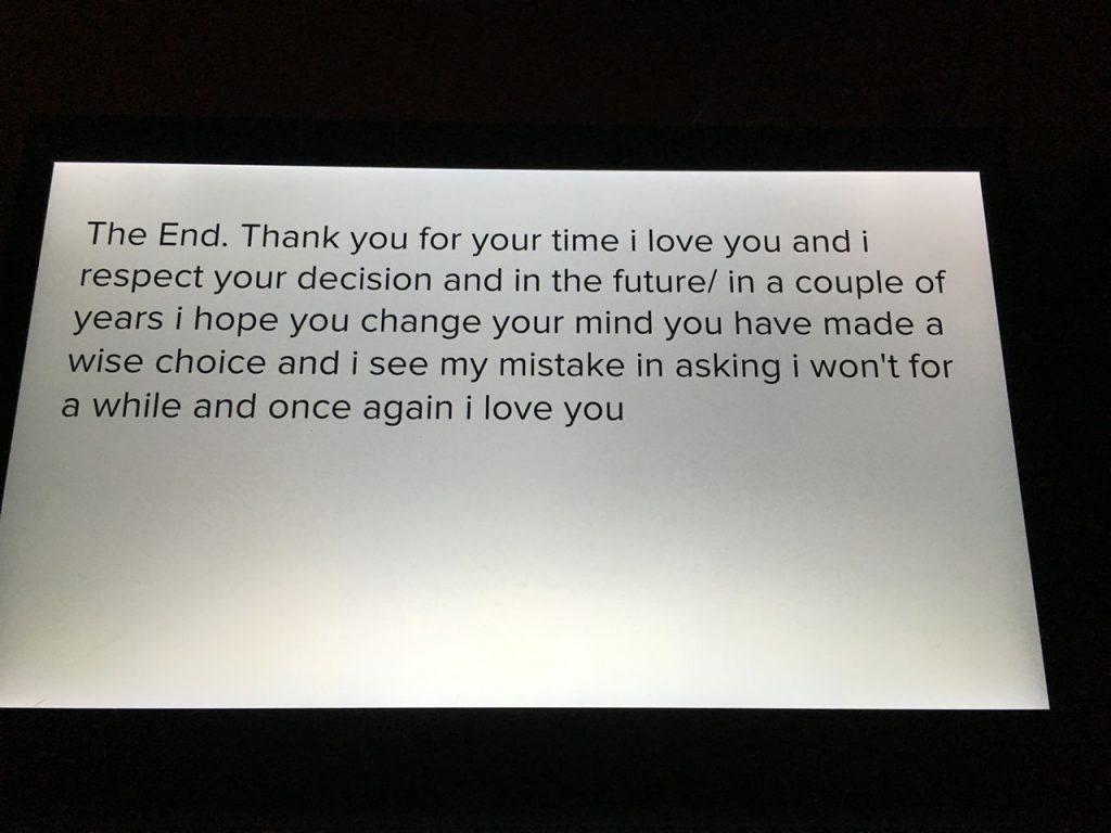 Спасибо за ваше время, я принимаю ваш ответ, надеюсь вы его измените в будущем. Знаю, вы сделали мудрый выбор. люблю вас.