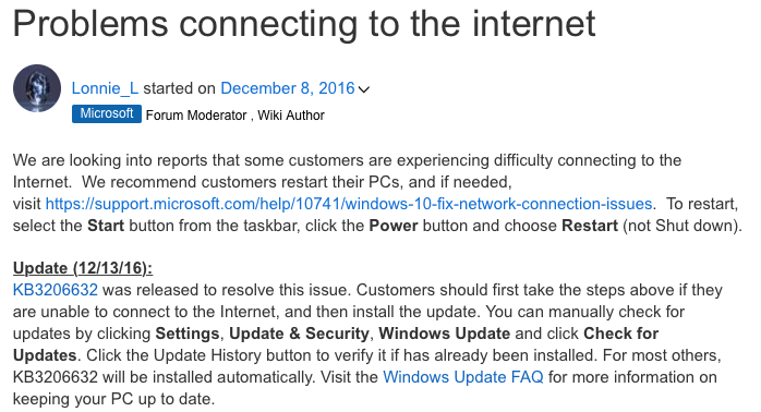 Обновление Windows 10 отключило интернет
