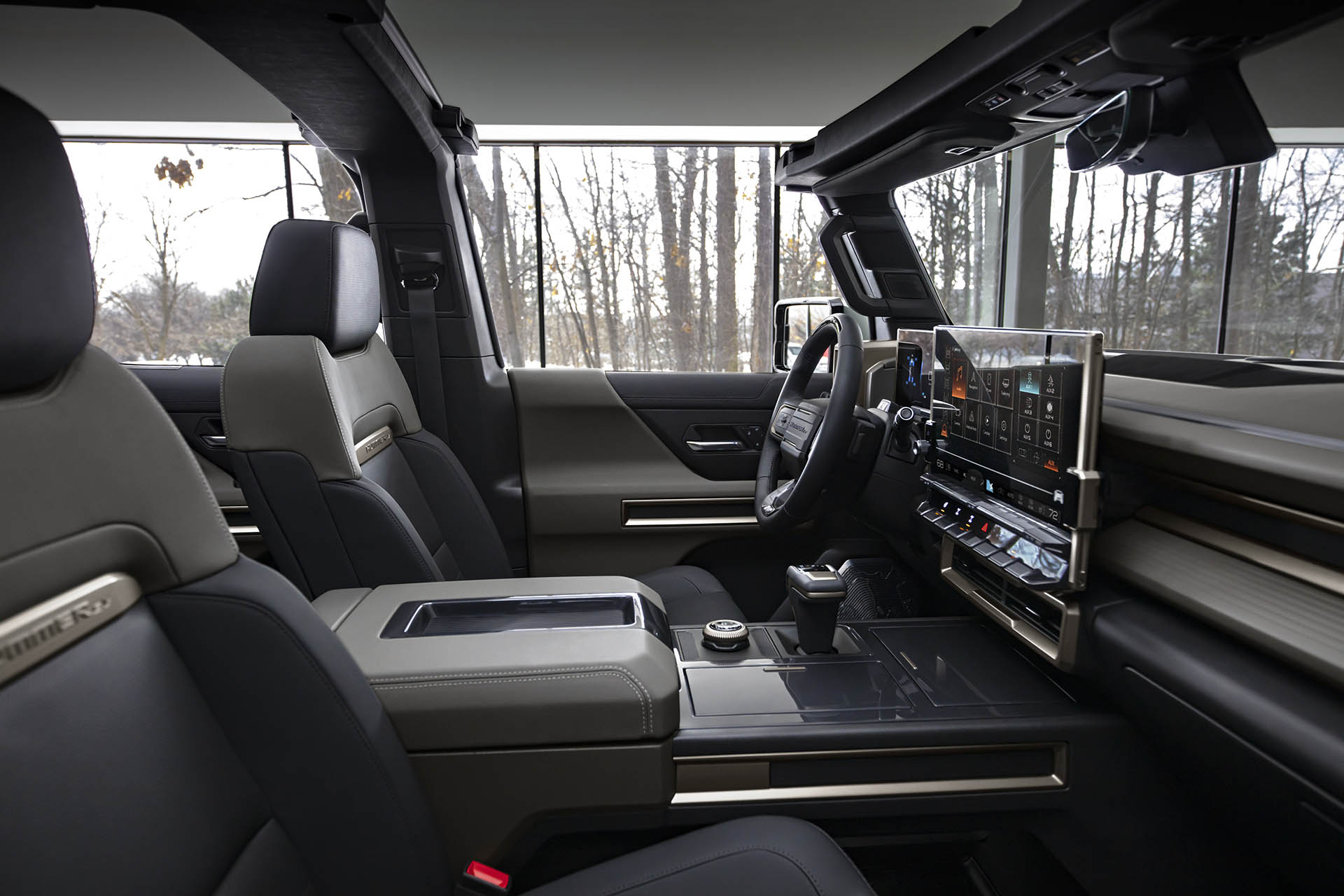 The GMC HUMMER EV SUV debuts in the low-contrast Lunar Shadow in